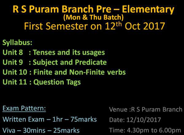 English Grammar Class in R S Puram Coimbatore